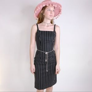 Vintage 50s Pinstriped Wiggle Pinup Dress XS SM